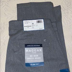 Haggar Mens H26 No Iron Dress Khaki Slim Fit Heather Gray Size 30X32 NEW